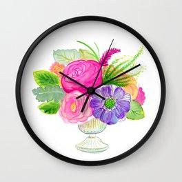 electricflora teacup watercolor Wall Clock