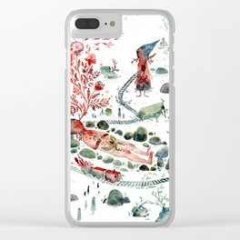 Colossal Watercolor Village Elf Gnomes Clear iPhone Case