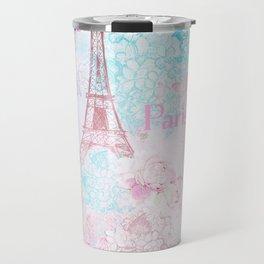 I love Paris - Vintage  Shabby Chic in pink - Eiffeltower France Flowers Floral Travel Mug