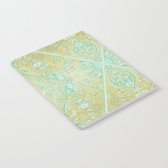 Mint & Gold Effect Diamond Doodle Pattern Notebook