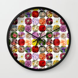 A Collage Of Bright Flowers Wall Clock