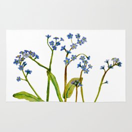 Forget-me-not flowers watercolor art Rug