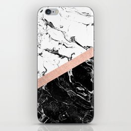 Modern black white marble color block rose gold iPhone Skin