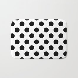 Black and White Medium Polka Dots Bath Mat