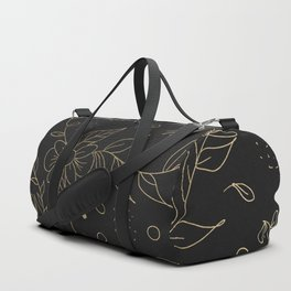 Gold foil floral pattern and geometric triangles on grey Duffle Bag