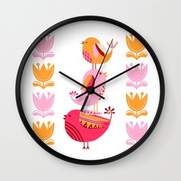 Happy Pink And Orange Birds And Blooms Wall Clock