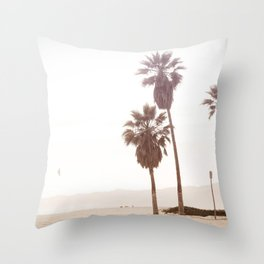Vintage Summer Palm Trees Throw Pillow