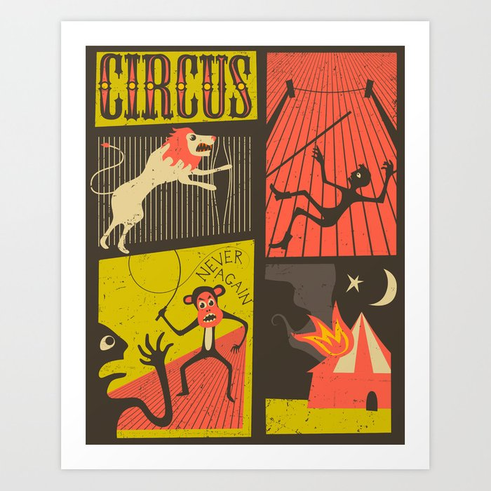 Trouble at the Circus Art Print
