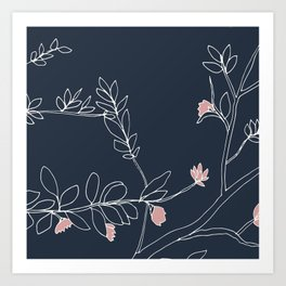 Flora, White and Pink on Blue Art Print