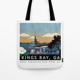 Kings Bay, GA - Retro Submarine Travel Poster Tote Bag