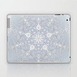 Baroque Garden, White on Blue, Watercolor Ornate Pattern Laptop & iPad Skin
