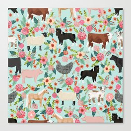 Farm animal sanctuary pig chicken cows horses sheep floral pattern gifts Canvas Print