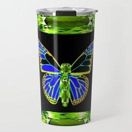 Lime Greenish Peridots Gems Jeweled Butterfly Design Travel Mug