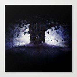 Misty oak tree Canvas Print