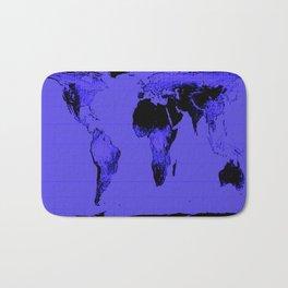 World Map: Gall Peters Indigo Purple Bath Mat