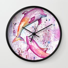Dolphins Painting Illustration Wall Clock