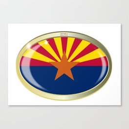Arizona State Flag Oval Button Canvas Print