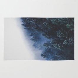 Foggy Blue Purple Mountain hill Pine Trees Landscape Nature Photography Minimalist Modern Art Rug