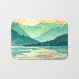 Spring Sunset over Emerald Mountain Landscape Painting Bath Mat