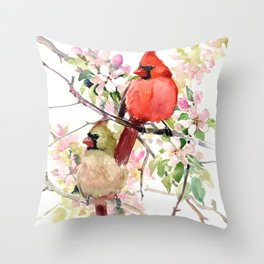 Cardinal Birds and Spring Throw Pillow