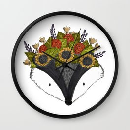 Foral Badger Wall Clock