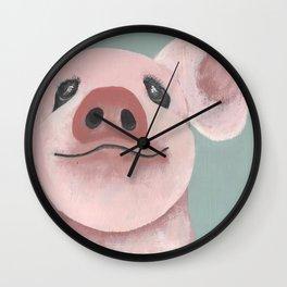 Original Painting - Farm Friends - Baby Pig - Cute Pig Painting Wall Clock