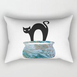 Black Cat In The Alley Throw Pillow Rectangular Pillow