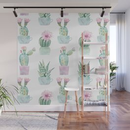 Simply Echeveria Cactus in Pastel Cactus Green and Pink Wall Mural