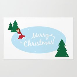 Merry Christmas Ice Skater Rug