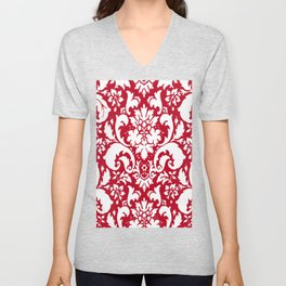 Paisley Damask Red and White Pattern Unisex V-Neck