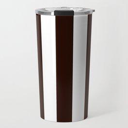 Root beer black - solid color - white vertical lines pattern Travel Mug