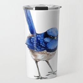 Splendid Fairy Wren, Blue on White Travel Mug