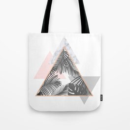 Tropical Marble Blush Pink Gray Copper Tote Bag