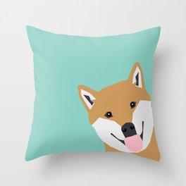 Shiba Inu Peek - cute shiba doge peeking funny dog art print mint turquoise customizable dog gift Throw Pillow