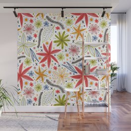 colorful funky floral pattern Wall Mural