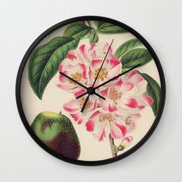 Cydonia Japonica Vintage Botanical Floral Flower Plant Scientific Wall Clock