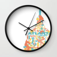 atlanta Wall Clocks featuring Atlanta, GA by ahutchabove