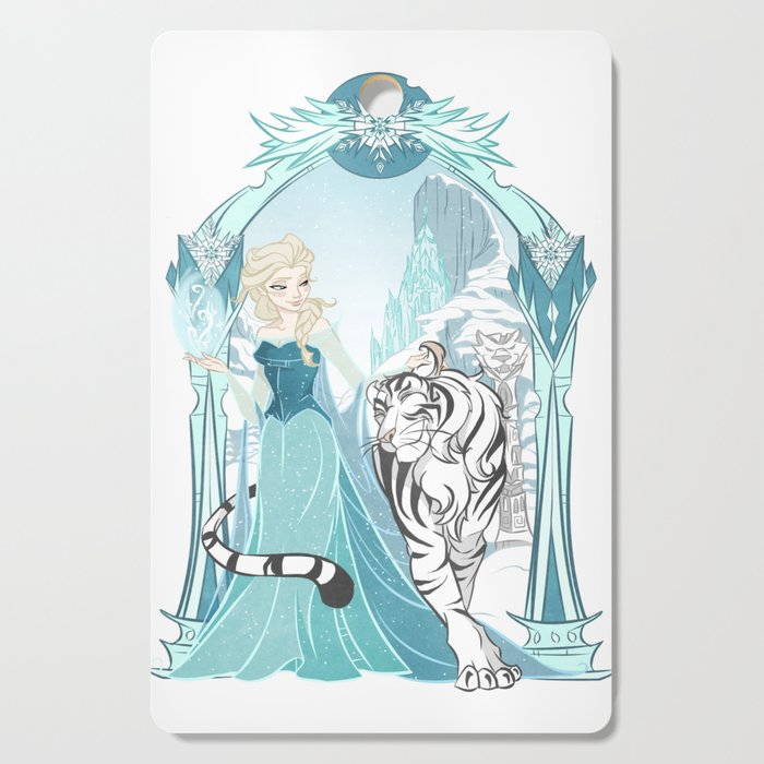 Frozen White Tiger Cutting Board