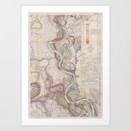 Harold N. Fisk Plate 22-13 Mississippi River Meander Belt Art Print