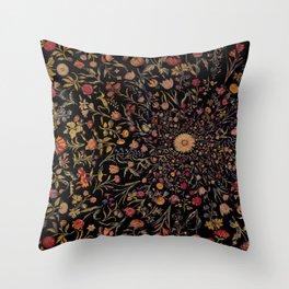 Medieval Flowers on Black Throw Pillow