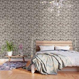 Alice in Wonderland   Toile de Jouy   Brown and Beige Wallpaper