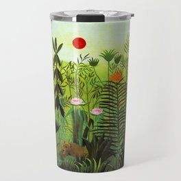 """Henri Rousseau """"Exotic Landscape with Lion and Lioness in Africa"""", 1903-1910 Travel Mug"""