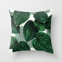 tropical green pattern Throw Pillow