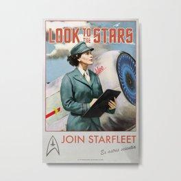 'Look to the stars' Vintage Retro Starfleet Recruitment poster Metal Print