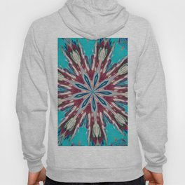 Red Turquoise Flower Mandala - Kaleidoscope Art by Fluid Nature Hoody