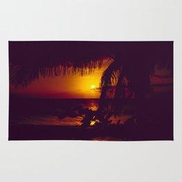 Kamaole Tropical Nights Sunset Gold Purple Palm Rug
