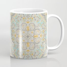 Gypsy Floral in Soft Neutrals, Grey & Yellow on Sage Coffee Mug