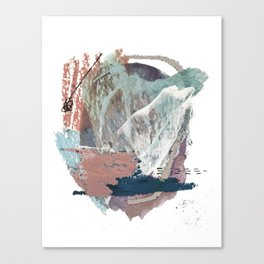 In the Clouds: a minimal mixed media piece in blues, pinks, white, and purple Canvas Print