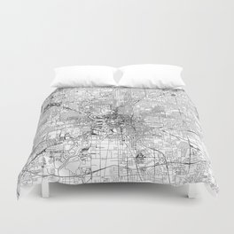 Indianapolis White Map Duvet Cover