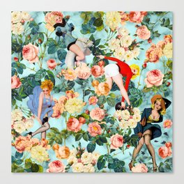 Floral and Pin Up Girls II Pattern Canvas Print